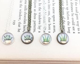 Little Succulent Necklace. Vintage-y Plant Necklace