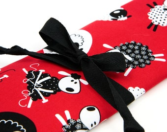 Knitting Needle Case - Red Sheep - 30 black pockets