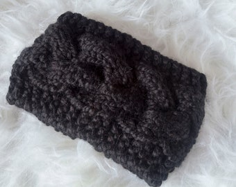 Black Braided Cable Ear Warmer Headband