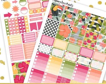 50%off TROPICAL PRINTABLE Planner Stickers | Instant Download | Pdf and Jpg Format