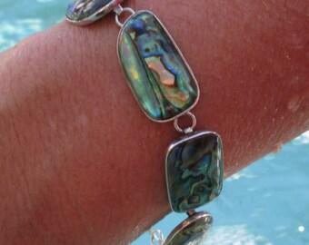 Vintage Abalone and Sterling Link Bracelet