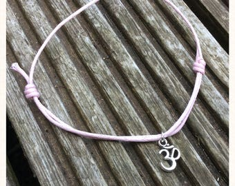 Pink Cord Ohm Charm Anklet