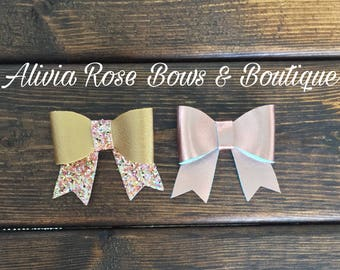 Faux Leather Bow, Baby Bow Headband, Rose Gold Baby Bow, Gold Glitter Baby Bow, Glitter Baby Bow, Hair Bow