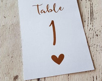 Rose Gold Foil Wedding Table Numbers Rustic 1-10 Vintage Gold Silver