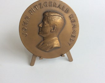 Vintage John Kennedy Inaguration Metal Medallion with Stand