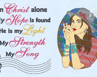 In Christ alone my hope is found, Christ is my Song-5x7 & 4x4 Embroidery Saying only- INSTANT DIGITAL DOWNLOAD