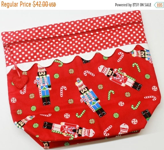 SALE Big Bottom Bag Red Nutcrackers  Cross Stitch, Sewing, Embroidery Project Bag