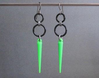 Neon Jewelry, Neon Green Earrings, Hypoallergenic, Bright Green Earrings, Long Dangle Earrings, Green and Black Earrings, Spike Earrings