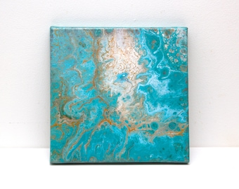 Original abstract painting - Turquoise Gem. Acrylic on canvas 20 x 20 cm. Liquid pour acrylic painting.
