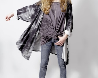 Abstract black and white cardigan boho kimono cardigan long cardigan | kimono jacket | kimono robe