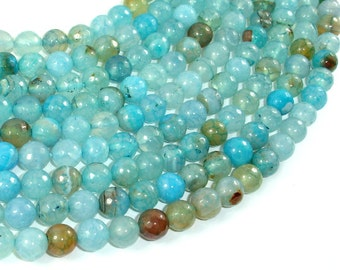 Light Blue Dragon Vein Agate Beads, 8mm Faceted Round Beads, 15 Inch, Full strand, Approx 47 beads, Hole 1 mm (122025159)