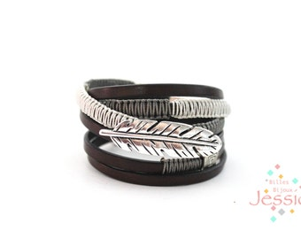 Magnetic leather bracelet, Brown leather, Bohemian, Style boho, Boho bracelet, Women leather bracelet, Leather strap, Magnetic clasp