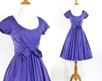 Vintage 1950s Dress | 50s Purple Satin Party Dress | Full Skirt | XS S