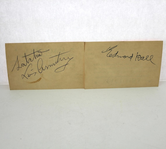 Vintage Louis Armstrong Satchmo and Edmond Hall Autograph, 1956 Signed on Macumba Club Cards