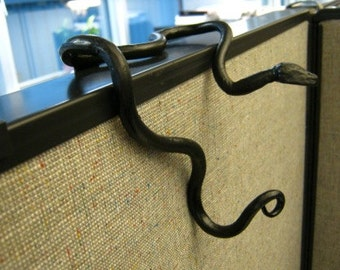Office Cubicle Hook, Office Cubicle Decoration, Squirmy Hand Forged Snake Coat Hook, Handmade, For Office Divider Partition - Black