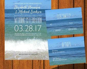 Beach Wedding Invitation / Beach Wedding Suite / Inviation Suite / Sunset / Blue / Casual / Anniversary