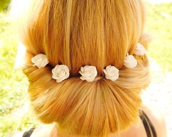 Wedding hair pin 1 pcs White rose hair pin Flower bridal hairpiece Sister Gift for her Prom Flower accessories Floral bobby pin Hair jewelry