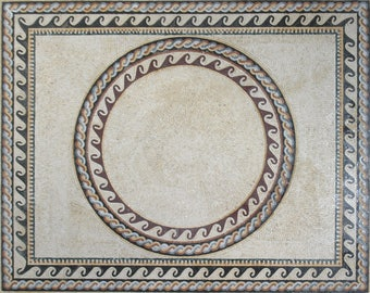 "Nautical Waves Ropes Round Rectangle FRAME 86""X69"" Marble Mosaic CR465"
