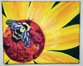 Original Rusty Patched Bumblebee Mixed Media Acrylic Painting and Collage - From the Endangered Species Series