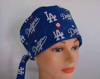 LA Dodgers Tie Back - Womens surgical scrub cap, chemo hat, Bakers hat, Nurse scrub hat, f-4270w