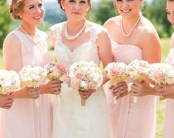 Wedding Bouquet, Bridal Bouquet, Sola Flowers Bridal Bouquet, Dusty Pink, Pink,Peach, Ivory Bridal Bouquet, Keepsake Bouquet, Dried Bouquet