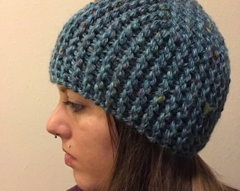 Blue with Speckles Knitted Beanie