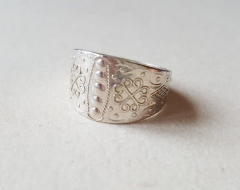Traditional Norrbotten province ring, Sterling silver, Sweden (F560)