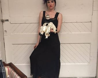 Sheer 30's gown. Best oft for a S-M. Pictured on petite size small model.