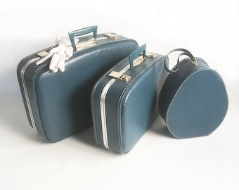 Mid Century 3 Piece Blue Luggage Set - Two Small Suitcase & a Hat Box