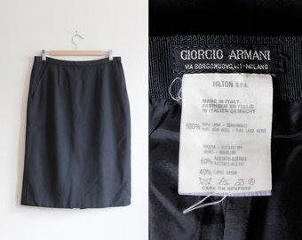 Vintage Giorgio Armani Black Wool Twill Pencil Skirt