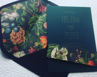 Letterpress bohemian custom wedding invitations