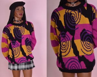 80s Colorful Multi Pattern Sweater/ Small/ 1980s