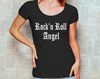Festival T-Shirt with print Rock'n Roll Angel graphic tee band shirt music tee S M L XL white or black