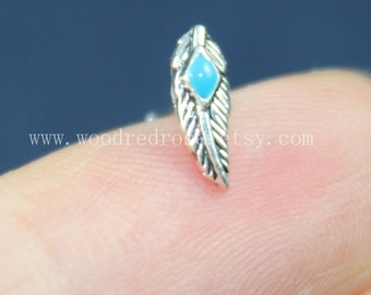 Simple Cute Silver Feather Nose Ring Studs  Gold Feather Stud Nose Ring,Turquoise Nose Piercing