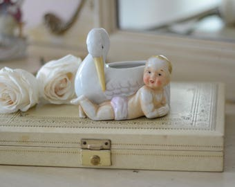 Vintage Stork and Baby Planter