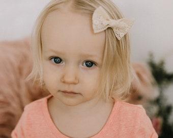 Crochet Bow //  Nylon Headband // Photo Prop  // Hair Bows // Hair Clips // Baby Bows // First Birthday // Baby Shower Gift