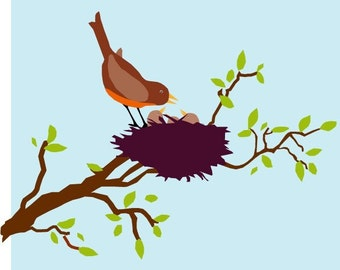 greeting card mothers day spring robin card