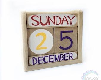 perpetual calendar wooden calendar montessori waldorf homeschool