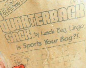 Vintage 20 Paper Lunch Bags, Lunch Bag Lingo, Sports Capades, Brown Lunch Bags for Sports Fan, Quarterback School Lunch, Games and Puzzles