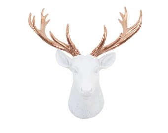 Mini Deer Head Wall Mount in White and Rose Gold - Faux White Deer Head With Rose Gold Antlers - Home Decor Wall Mount SD0111