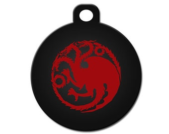 Cute Custom Pet ID Tag - Targaryen Dragon - on the front, your contact info on the back