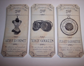 New Steampunk Shoppe Apothecary Labels Set of 6