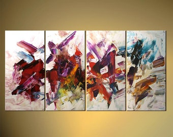 "60"" Original Acrylic Painting Palette Knife Abstract Purple Orange Red Green White Painting Colorful  by Osnat - MADE-TO-ORDER"