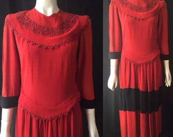 1940s colour-block dress Red and black