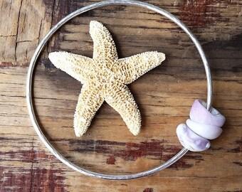 Hawaii Puka Shell Silver Bangle Bracelet, Hawaii Hammered Bangle, Mermaid Beach Boho Jewelry made on Maui, Beach Bride, Ocean Lover Gift