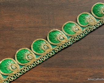 1 Yard Green Fabric Trim-Designer Sari Fabric Trim-Embroidered Green Fabric Trim-Crazy Quilt Trim-Belly Dance Outfit Trim By The Yard