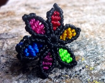 Colourful macrame flower ring