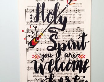 Holy Spirit You Are Welcome Here Original Hymnal Art