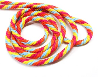 Multi Color Braided Rope Cord, Fuchsia Orange Blue Yellow Braided Cord, Polyester Braided Cord 6mm approx. - 1 Yard/0.92m approx. (1 pc)