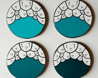 Mint Green Shades - Chep Coasters - Set of 4